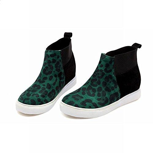 Latasa Damesmode Elastische Panelen Animal Footprint Platform Mid-heel Enkelhoge Knus Chelsea Boots Groen
