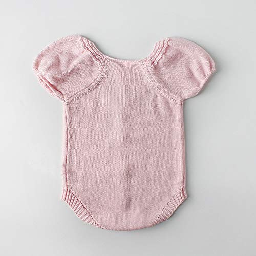 NUWFOR Newborn Baby Girls Boys Knitted Toddler Puff Sleeves Jumpsuit Clothes Outfits(Pink,0-6 Months) by NUWFOR (Image #2)