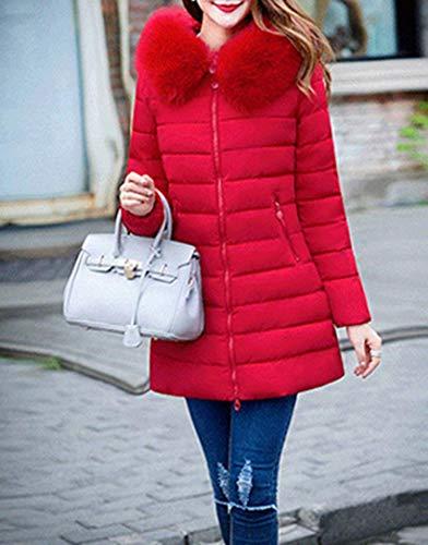 Long Elgante Outdoor Manteau Manteau Fourrure Parka Loisir Chaud paissir Manches Coat Spcial Oversize Femme Hiver Chemine avec Style Capuchon Longue Stepp Rouge fzqRH8WcO