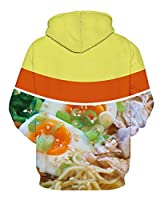 GLUDEAR Unisex Realistic 3D Digital Print Pullover Hoodie Hooded Sweatshirt,Egg Noodles,L/XL