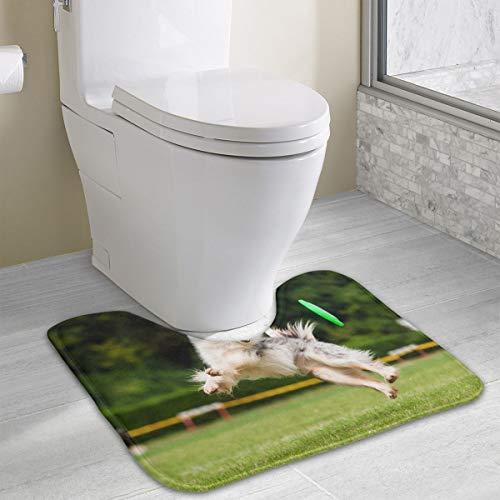 (Angeline E Topp Border Collie Dog Catching Frisbee Customized Memory Sponge Bath Mat U-Shaped Bathroom Carpet Non-Slip Absorbent Soft Microfiber Durable)