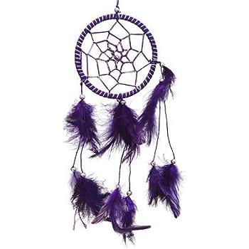 "DreamCatcher ~ Purple DreamCatcher with Feathers ~ Approx 3.5"" Diameter 1 Foot Long"