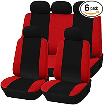 Black//Red Lupex Shop Seat Covers