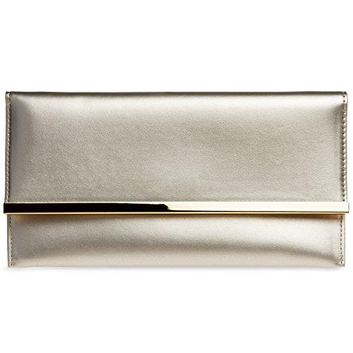 Ta405 Elegante Flache Champagne Tasche Damen Clutch Caspar Kleine Abendtasche Envelope fwOxTvq