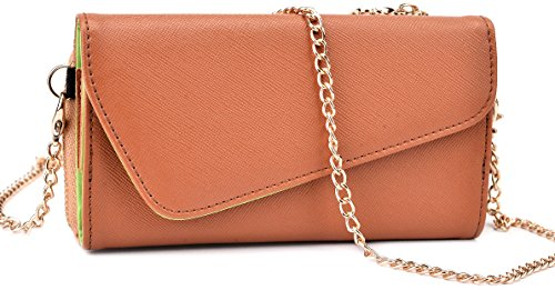 Kroo Clutch Wallet with Wristlet and Crossbody Strap for Smartphones or Phablets up to 5.7 Inch - Carrying Case - Frustration-Free Packaging - Brown and Brown