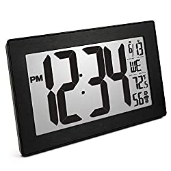Marathon CL030068BK-BS Slim Panoramic Atomic Wall Clock with Table Stand - Batteries Included (Black Frame/Black Stainless Finish)