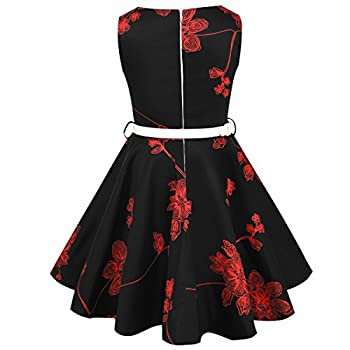 Hbbmagic Girls Sleeveless Round Neck Floral Audrey 1950s Fashion Vintage Swing Party Dress (Girls 11-12, Red Bouquet) 4
