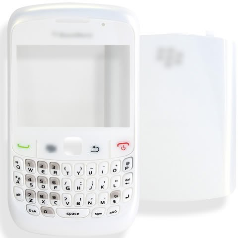 [PEARL WHITE] Original OEM Genuine Housing Case Bezel Faceplate Panel Fascia Plate Frame+QWERTY Keyboard+Keypad Button Buttons Key Keys+Battery Back Cover Door+Len Lens FOR BlackBerry Curve 8520