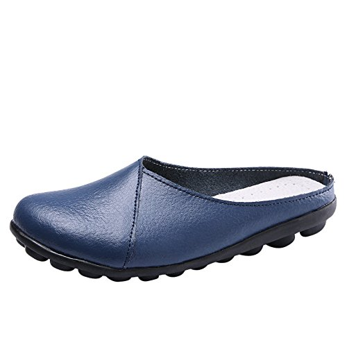 - ▶HebeTop◄ Women's Rubber Sole Breathable Natural Walking Flat Loafer, Soft Bottom Shoes Light Blue