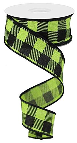 Plaid Check Wired Edge Ribbon - 10 Yards (Lime Green, Black, 1.5