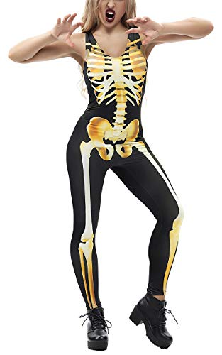 - 41sy pyDs0L - TUONROAD Womens 3D Graphic Print Skeleton Bodysuit Halloween Funny Cosplay Catsuit Jumpsuit