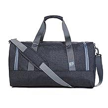 BAGSMART Travel Duffel Bag Large Foldable Weekend Shoulder Handbag overnight bag Gym Bag Carry-on with Shoe Bag 40L, Black