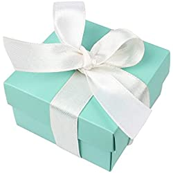 AerWo 10pcs Party Wedding Favors Bag + 10pcs Silk Ribbon, Mini Small Square Turquoise Candy Box with Lids for Wedding Supply, Birthdays, Bridal and Baby Showers (Aqua Blue)