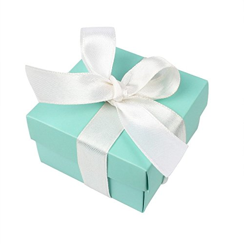 AerWo 10pcs Party Wedding Favors Bag + 10pcs Silk Ribbon, Mini Small Square Turquoise Candy Box with Lids for Wedding Supply, Birthdays, Bridal and Baby Showers (Aqua Blue)]()