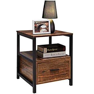 VECELO Modern Rectangular Wood Nightstand Side/End/Coffee/Accent Table, Cabinet with Drawer for Storage, Brown - Waterproof wood grain finish, easy to clean Keep your things on hand with storage shelf End table dimension: 17. 7*17. 7*22 in - nightstands, bedroom-furniture, bedroom - 41sy0QpEnLL. SS400  -