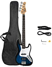 $114 » Glarry Gjazz Electric Bass Guitar 4 String Full Size for Beginner Right Hand with Shoulder Strap, Wrench Tool, Power Line and Bag (Dark Blue)