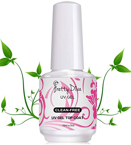 PrettyDiva No Wipe Top Coat - 0.5 Oz No Cleanse UV Led Light Cured Required High Gloss Soak Off Gel Nail Polish Rubber Top Coat - ()