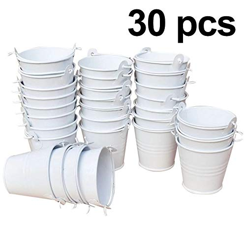 GuiHe 30pcs Mini Metal Bucket Tin Candy Box Buckets Souvenirs Gift Pails Perfect for Party Favors, Candy, Votive Candles, Trinkets, Small Plants (White) (White Mini Pails)