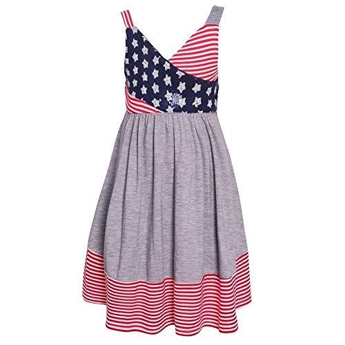 Jean Bonnie Sundress - Bonnie Jean Girls' July Fourth Stripe Knit Sundress with Sequin Stars 4-16 (16)