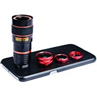 Apexel 4 in 1 Cell Phone Camera Lens Kits Fisheye Lens+Wide Angle lens+ Macro Lens+8x Telephoto Lens with Back Cover Case for Samsung Galaxy S6 Red