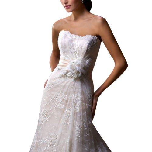 Hochzeitskleider Spitze Brautkleider All Luxus Elfenbein Over Belt GEORGE BRIDE Back mit rosa XIqwgY