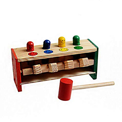 (Brightric Wood Early Education Enlightenment Strike Trapeze Game Kids Pile Driver Toy)