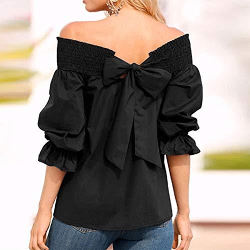 Shirt Chemisiers Arrire Printemps Haut N Noir Papillon Fashion T Tops Col Manches Automne et Blouse Jeune Shirts Femme Longues Bateau Tee ud ggwnFPZq
