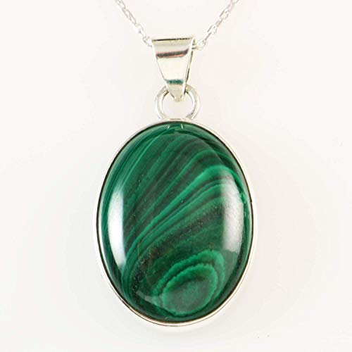 (Sterling Silver Oval Natural Green Malachite Gemstone Heart Chakra Healing Handmade Pendant 16+2'' Chain)