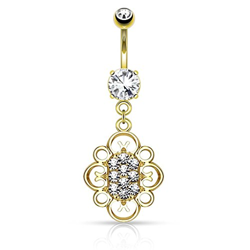 14G Crystal Paved Center Oval Heart Filigree Dangle Navel Ring (Sold Individually) (Gold/Clear)