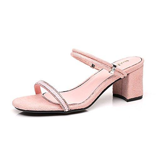 ZHIRONG Sandalias de tacón alto de 6CM de verano de las mujeres punta  abierta hebilla de diamantes de imitación de la cabeza cuadrada zapatillas  de oro rosa ... 47c738c2dcec
