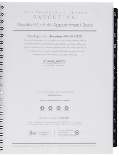"AT-A-GLANCE Weekly / Monthly Appointment Book Refills, January 2018 - December 2018, 8-1/4"" x 10-7/8"", Executive (7091110)"