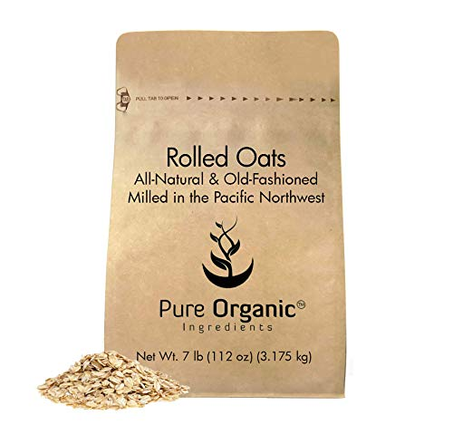 Rolled or Old-Fashioned Oats (7 lbs.) by Pure Organic Ingredients, Resealable Packaging, For Everything From Breakfast to Face Masks And More!
