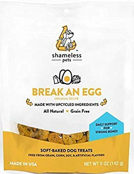 (SHAMELESS PETS Natural Grain Free Dog Treats, Egg and Cheese | Made in The USA from Upcycled Food Ingredients | 100% Natural, Grain Free, and Superfood)