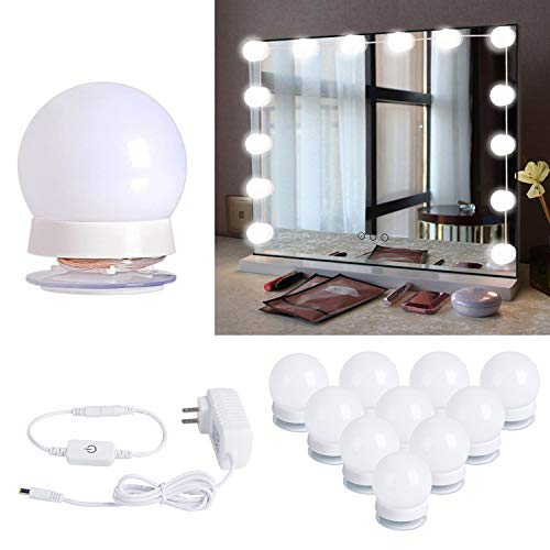 Hollywood Style Led Vanity Mirror Lights Kit with 10 Dimmable Light Bulbs for Makeup Dressing Table and Power Supply…