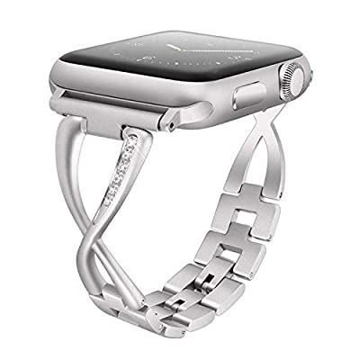 Aokon Bling Bands for Women Apple Watch Band 38mm Stainless Steel Metal Replacement Wristband Fashion Strap for Apple Watch Nike+, Series 3, Series 2, Series 1, Sport, Edition, 4 Colors Available