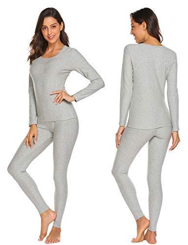 Ekouaer Womens Cotton Thermal Underwear Long Johns Winter Set Fleece Lined,Lgt,X-Large