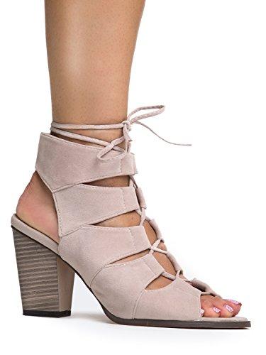 Gladiator Lace up High Heel - Chunky Wood Block Bootie - Trendy Casual Tie Up Wedge Sandal U Classic Comfortable Walking Shoes by J. Adams,Beige,10 B(M) US