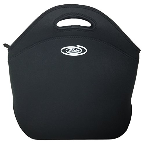 Neoprene Lunch Bag for Men Women Adults, Insulated Leakproof Lunch Tote for Work School Travel, Fits Bento Boxes, Ideal Mens Gift (Large, Black)