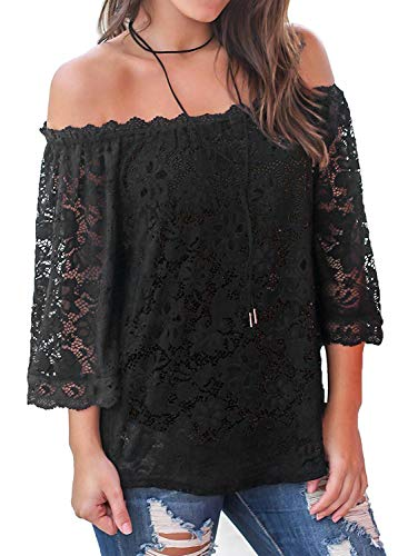 Bloggerlove Womens Lace Tops Sexy Off Shoulder Shirts Ruffle 3/4 Sleeve Blouses Black