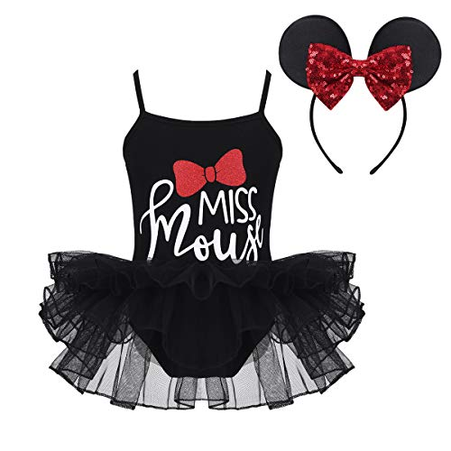 dPois Baby Girls' Fancy Party Dress Up Ballet Dance Tutu Costume with Ears Headband (3-4, Black) ()