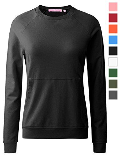 Crew Lightweight Sweatshirt (REGNA X women's long sleeve crewneck solid color pullover sweatshirts for women)