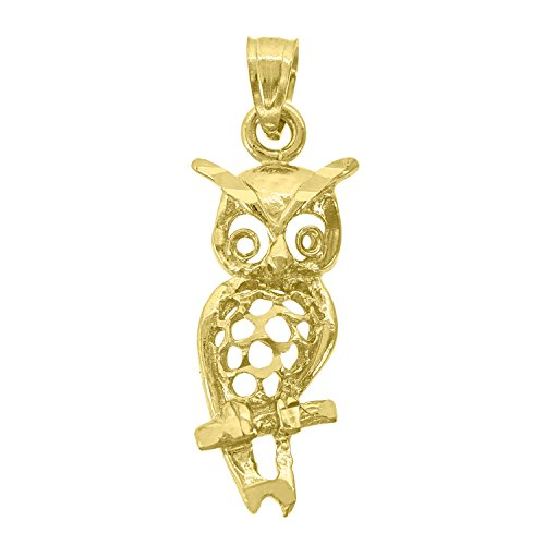 (Jawa Jewelers 14kt Gold Womens Dc Owl Bird Ht:26.3mm Pendant)