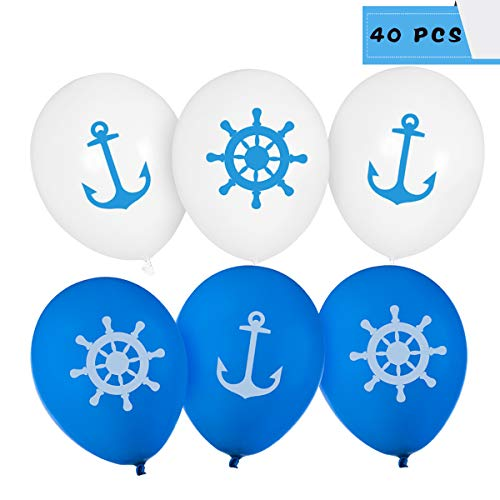 DLOnline 40 Pcs Blue Navigation Theme Balloons,Nautical Print Latex Balloons,12'' Blue Party Latex Balloons
