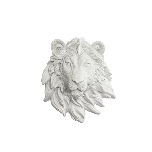 - Wall CHARMERS Mini White Faux Lion Head Wall Hanging - 9