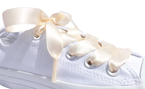Ivory Flat Satin Ribbon Shoelaces, Shoe Laces For Kids, Youths & Womens Converse All Star Sneakers