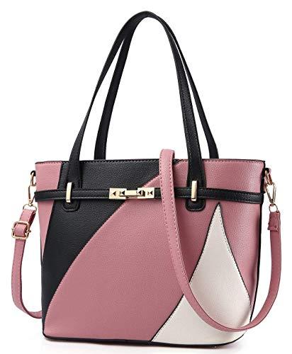 Leatherette Tote Handbag - Pink Handbags for Women Shoulder Tote Bags Satchel Purse Top Handle Designer Leather Ladies Cossbody Bag