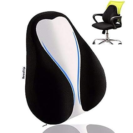 Cojín Lumbar de apoyo terapéutica – Memoria almohada lumbar – respaldo  lumbar silla oficina - Apoyo del mochila para casa, oficina, coche, viaje –  ...