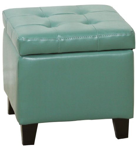 Best-selling BEST Square Patent Storage Ottoman with Tufting, Seafoam Green