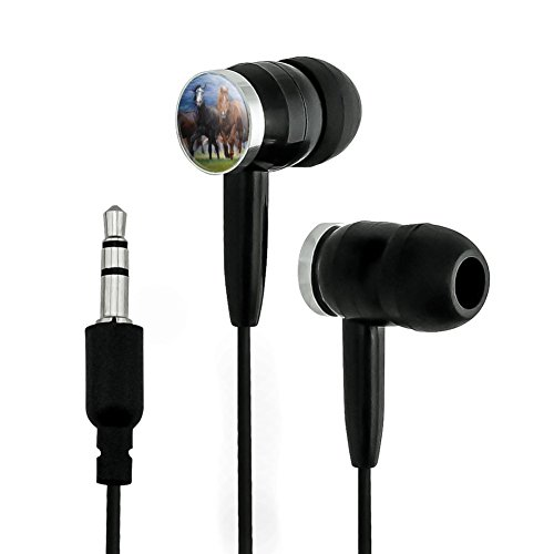 GRAPHICS & MORE Horses Ahead of The Storm Front Novelty in-Ear Earbud Headphones - Black (Horse Headphones)