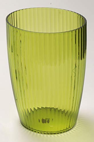 Ben & Jonah Ribbed Acrylic Waste Basket in Palm Green Splash Collection ()